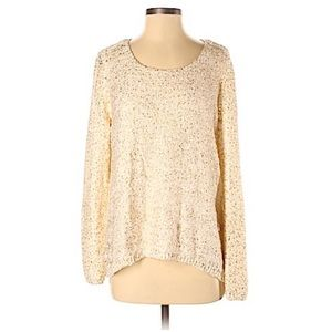 Chicos Cream & Gold Pullover Sweater Sz 0 Women's